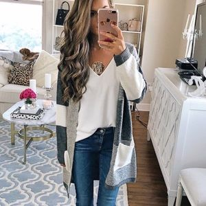 Topshop Gray and White Patchwork Cardigan